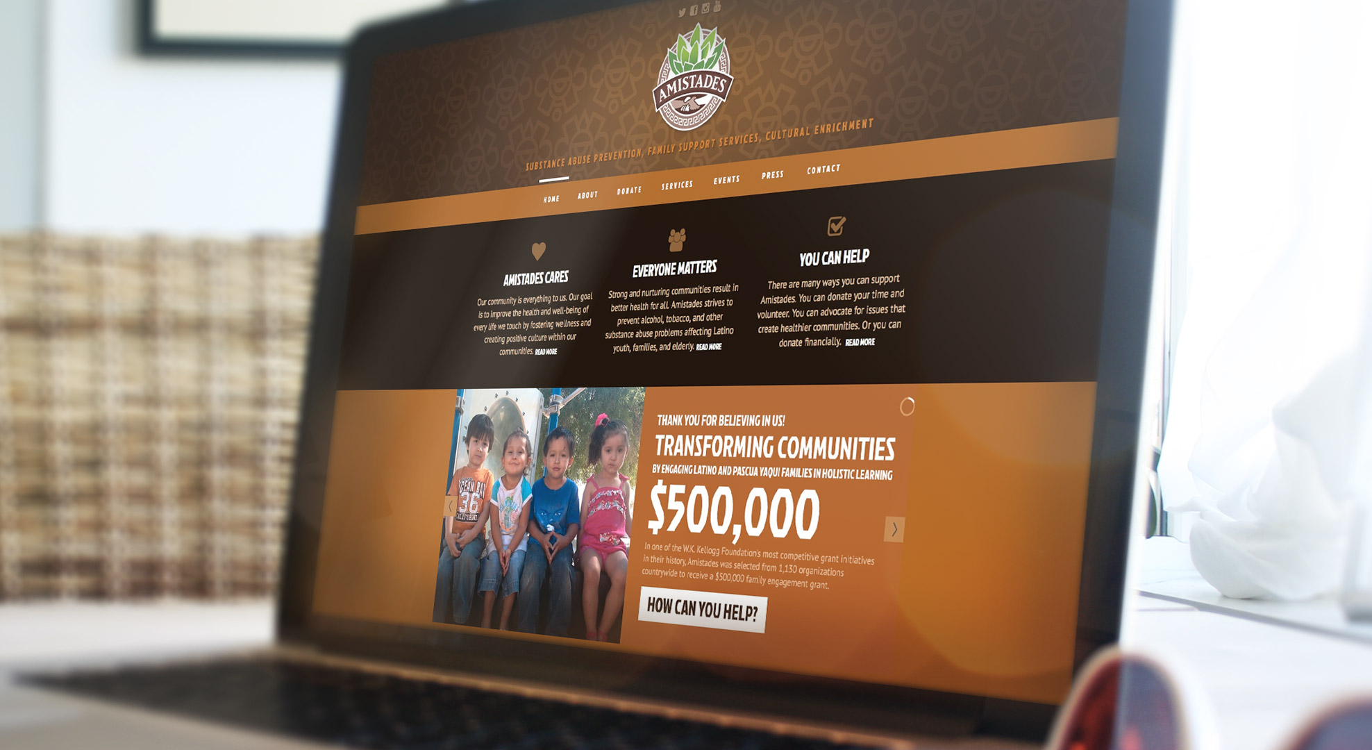 It was important to Amistades, a non-profit community development organization, to showcase their invaluable services as well as provide prominent avenues for visitor donation. Their new responsive WordPress website highlights their support programs and displays calls-to-action to encourage community support.
