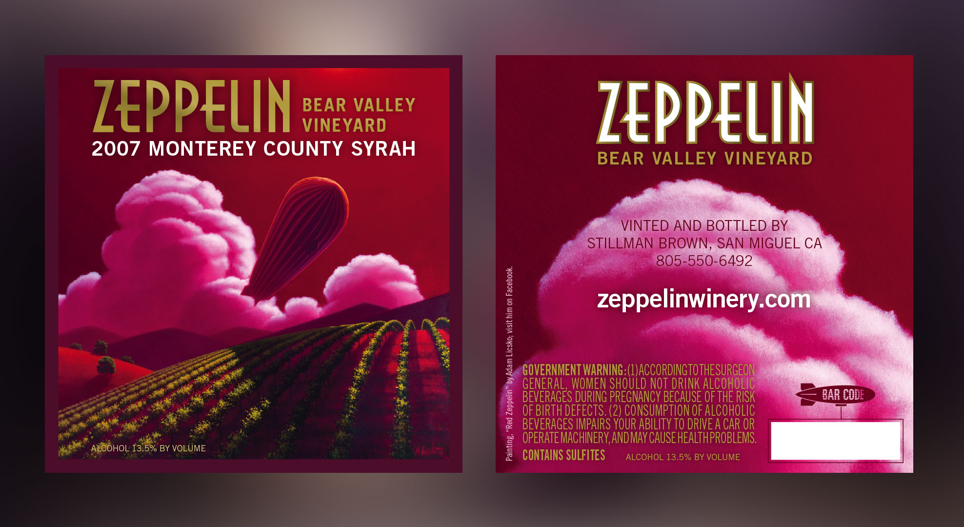 Vintner, Stillman Brown (a.k.a. Swillyidle) of northern California, asked if we would design the Red Zeppelin label for his 2007 Monterey County Syrah. He then asked if we would consider compensation in trade. We accepted his proposal and thoroughly enjoyed the liquid asset.