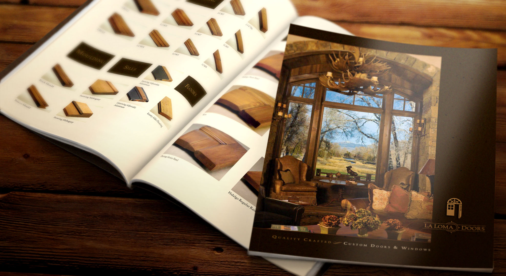 Custom quality doors and windows for custom built homes. We hired a photographer to shoot all aspects and styles of the product along with the woodworking shop and finished installation. It was a big project and the finished catalog was beautiful and well-received.